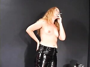 Perky Titted Blonde In Leather Pants Enjoying A Smoke