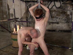 Redhead Amateur Guy Tied Up By His Bald Friend For Ass Fucking