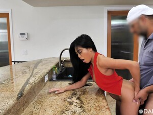 Asian Hottie Ember Snow Flashes Ass When She Fucks Doggy In The Kitchen
