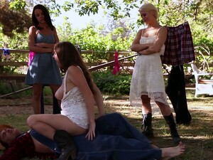 Horny Cougar Darla Crane And Some More Busty Girls Go Wild On The Farm