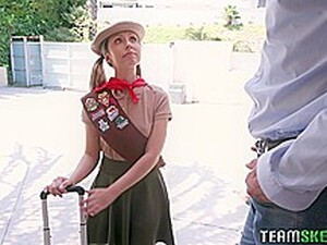Adorable Blonde Scout Girl, Daphne Dare Is Too Busy Fucking A Guy To Finish Her Tasks