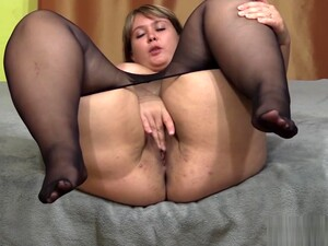 Bbw In Nylon Pantyhose Shows Your Fat Ass And Hairy Pussy
