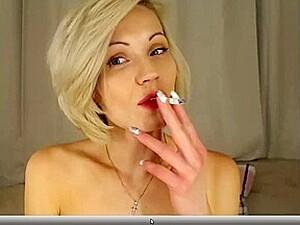 Petite Blonde Teasing And Smoking