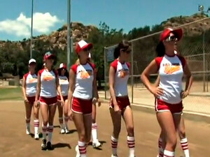 Bunch Of Horny Cheerleader Studs Came To Watch Sexy Chicks Playing Baseball