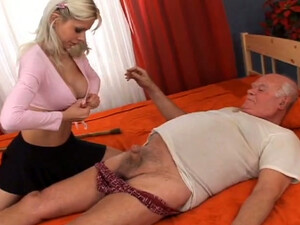 Fat Grandpa Gets Awesome Blowjob From Young Blondie