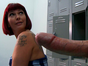Young Dude Spying Busty Red Haired Milf Carrie Ann Taking A Shower