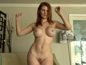 Fake Tittied Ginger Babe Strips And Sucks Her Finger