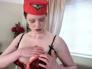 Lusty Stewardess Holly Kiss Plays With Big Saggy Tits And Her Pussy