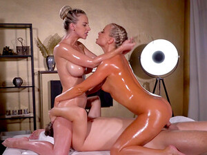 Addictive Threesome On The Massage Table For Two Elegant Blondes