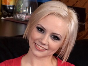 Beautiful Short Haired Blonde Unbuttons Her Cardigan And Fucks