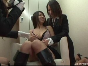 Hardcore Lesbian Threesome With Japanese Teens With Hairy Pussies