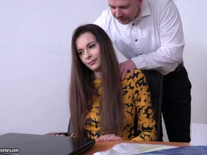 Beautiful And Rapacious Office Nympho Victoria J Takes Double Cock Penetration