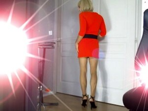 Crossdresser Faustine Secretary Walking High Heels