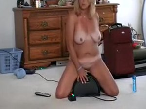 Large Titted Golden-haired Wife Rides Her Sybian