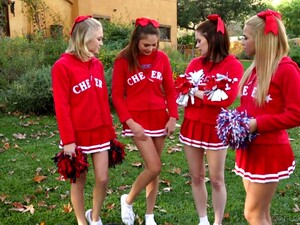 Cheerleader Lesbian Orgy In Which Lovely Babe Ariana Marie Takes Part