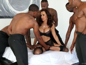 Perfectly Shaped White Milf Lisa Ann Is Fucked By Several Black Hot Blooded Studs