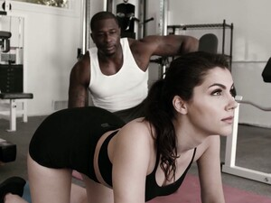 Fitness Chick With Yummy Big Boobies Valentina Nappi Goes Black At The Gym