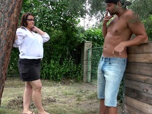 Fat Granny With Glasses Gets Fucked By A Dirty Handsome Stud