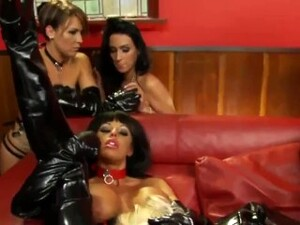 Horny Blonde Gets Strap-on Fucked By Slut In Latex