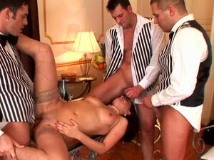 Busty Maid Juliana Grandi Being Fucked By Three Guys