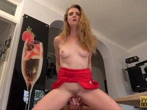 Slutty Blonde Housewife In A Red Dress, Ashley Lane Got Fucked Hard, In The Kitchen