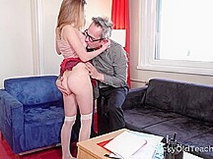 Tricky Old Teacher - Sweet Student Passes Test In Bed