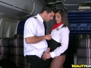 Horny Brunette Chick Mischa Brooks Gives Head To A Pilot