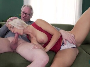 Blanche Bradburry The Horny Blonde Slut With Her Big Tits Sucks With Enthusiasm Grandpa Hans Dick