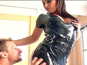 Leather-clad Brunette With A Hot Body Enjoying A Hardcore Missionary Style Fuck