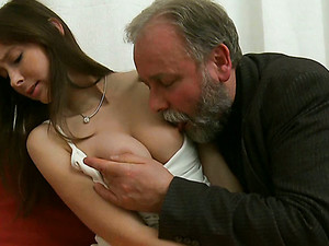 Dirty Old Man Licks Juicy Pussy Of His Grandson's Girlfriend