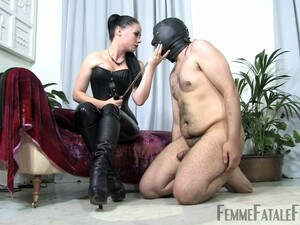 Mistress In Leather Corset Sophia Black Punishes One Ugly Fat Dude