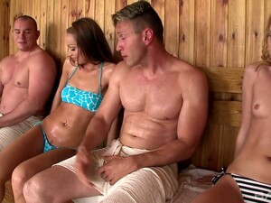 One Hot Blooded Dude Fucks Two Slutty Chicks In The Sauna