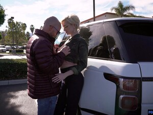 Tall Leggy Blonde Skye Blue Gives A Deepthroat Blowjob In The Car