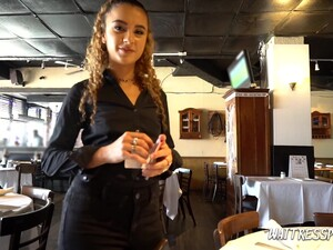 Curly Red Haired Waitress Venus Valkyrie Is Fucked For Money By One Kinky Stranger
