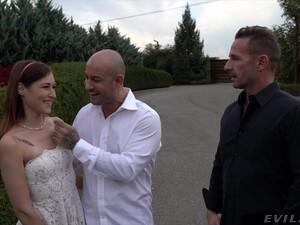 Cute Redhead Bride Mina K Fucked In MMF Threesome Balls Deep