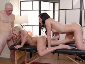Masseur Has Fun With Coworker Whitney Wright And Client Christie Stevens