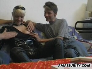 Blonde Cougar Fucks Two Younger Studs And Gets Her Twat Jammed With Insertions