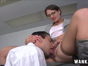 Nerdy Hottie In Black Stockings Gives BJ And Gets Poked From Behind