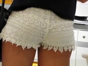 Nice Ass And Cameltoe In White Shorts