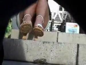 Sexy Feet In High Heels And Panty Upskirt White Peek