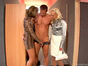 Stud In Locker Room Fucks Clothed Babes