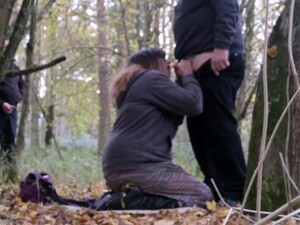 Sissy And Horny Crossdresser In The Woods Is Fucked And Covered In Cum