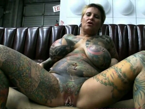 Busty Tattooed Whore With Pierced Clit Gets Her Twat Fucked Hard