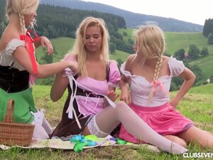 Three Naughty Teens Are Licking And Fucking Each Others Pussies In The Meadow