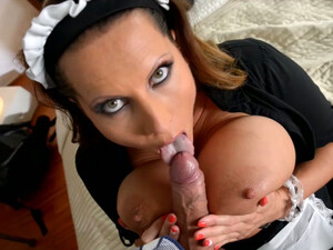 Super Juggy Maid Gives Titjob And Blowjob To Bald Headed Dude