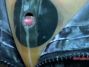 Tight Black Rubber Mask Makes Kristine Andrews Suffocate And Cry