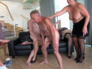 Two Old Dudes Enjoy Having Group Sex With Lot Of Slutty Ladies