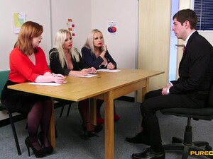 Guy In Suit Pleases These Horny MILFs During Job Interview