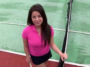 Interview With A Brunette Pornstar On A Tennis Court