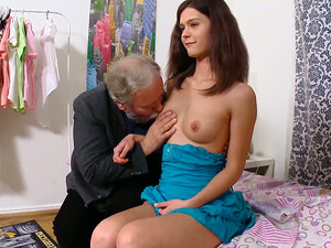 Sextractive Brunette Gets Her Pussy Polished By Ugly Old Man